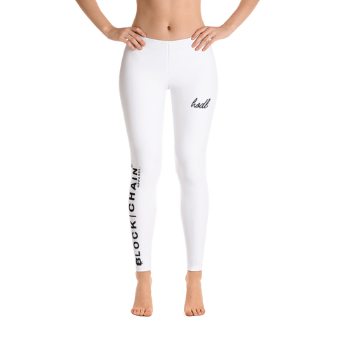 BLOCKCHAIN APPAREL LIFESTYLE LEGGINGS WHITE/ BLACK