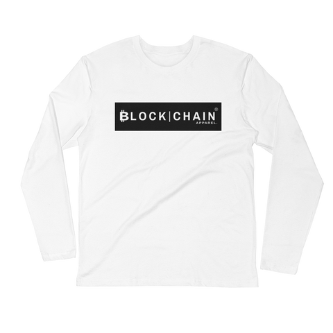 CLASSIC BLOCKCHAIN APPAREL BOLD BLOCK (FITTED) LONG SLEEVE WHITE/ BLACK