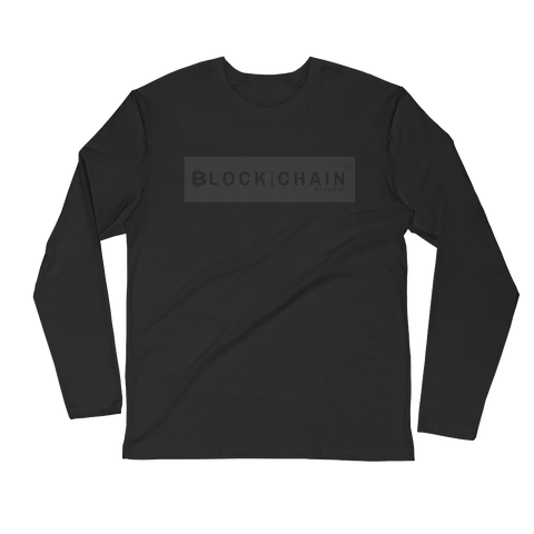 CLASSIC BLOCKCHAIN APPAREL BOLD BLOCK (FITTED) LONG SLEEVE BLACK/ GREY