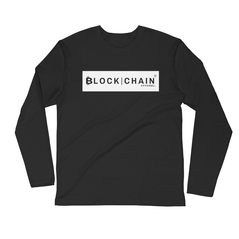 CLASSIC BLOCKCHAIN APPAREL BOLD BLOCK (FITTED) LONG SLEEVE BLACK/WHITE