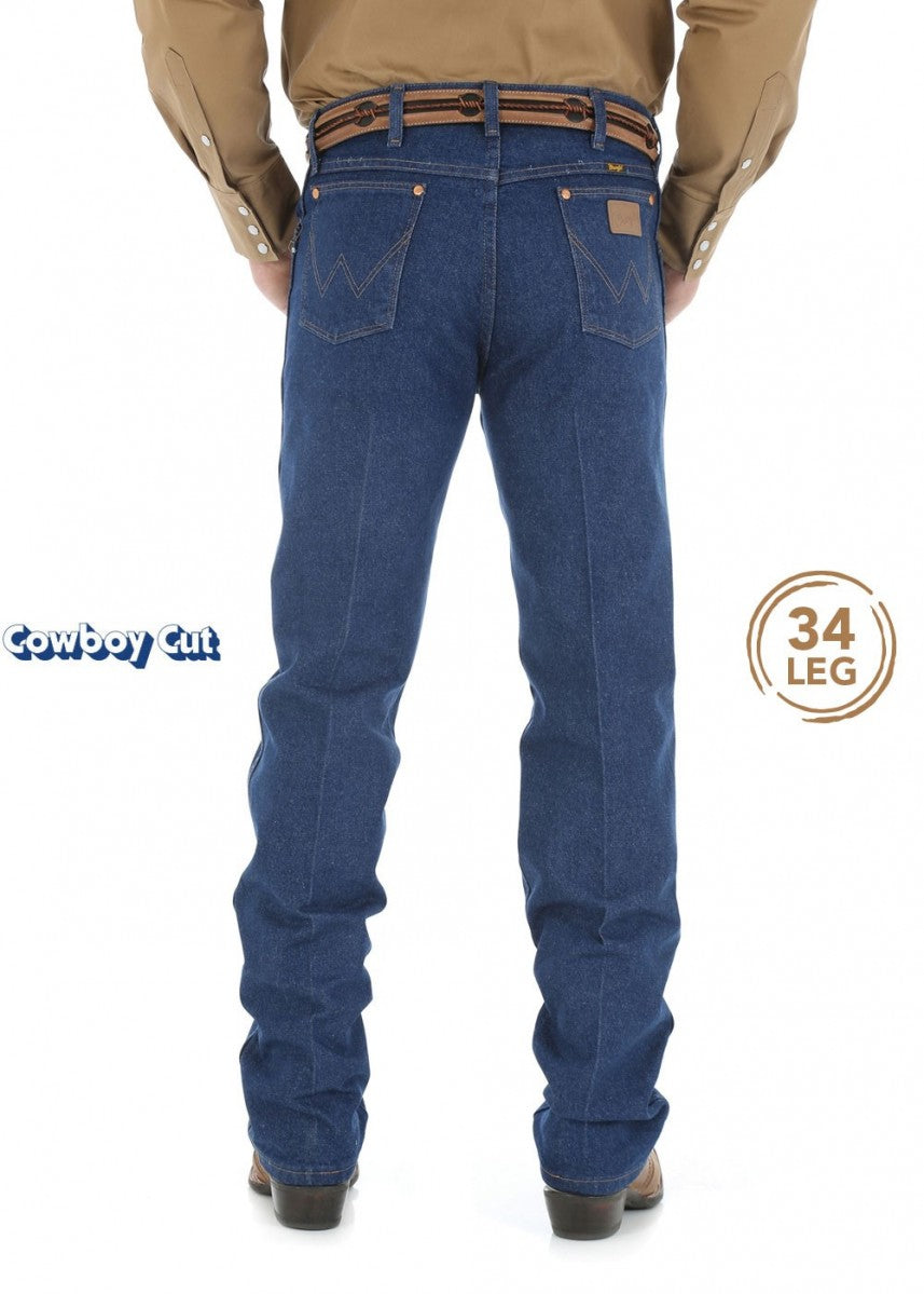 WRANGLER MENS COWBOY CUT ORIGINAL FIT JEAN 34 LEG Prewashed