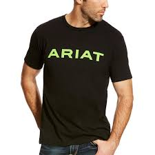 ARIAT MENS BRANDED T-SHIRT - BLACK & LIME
