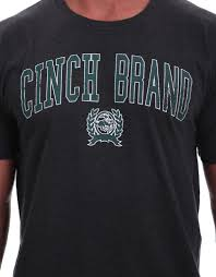 Mens Cinch Short Sleeve T Shirt Heather Black w/Green Lettering