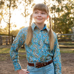 Brigalow Girls Binnaway Blue Paisley Full Button Shirt