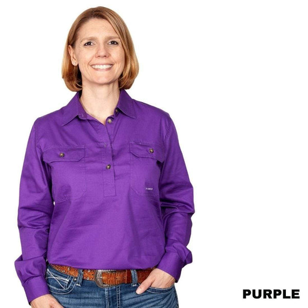 JUST COUNTRY Ladies Work Shirt Purple