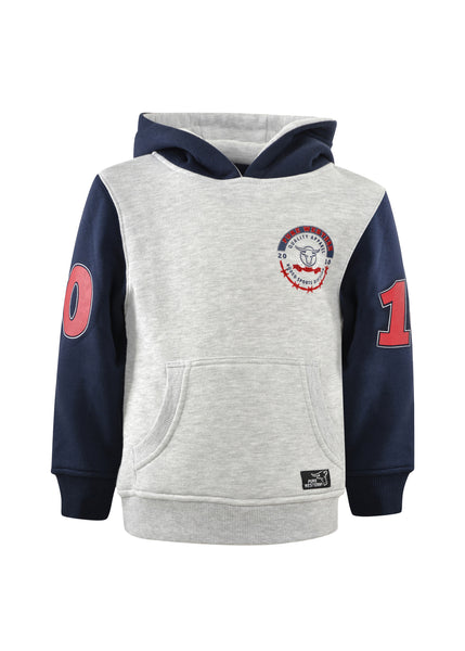 Pure Western Boys Statton Pull Over Hoodie Grey Marle/Navy Winter 2021
