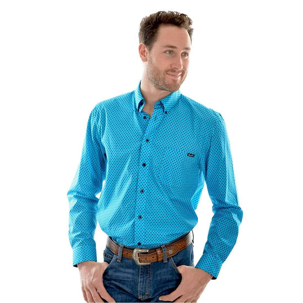 Wrangler Mens Del Monte Print Western Shirt Light Blue 40%  OFF WHILE STOCK LASTS