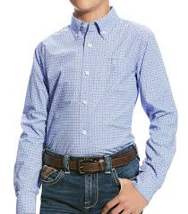 "ARIAT Youth Blue ""Painton"" Arena Shirt"