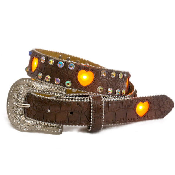 Brigalow Girls Brown Flashing Heart Belt 50% OFF