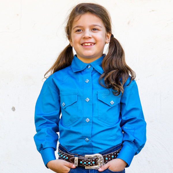 Brigalow Girls Shirt full button Cobalt