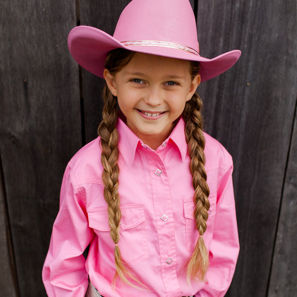 Brigalow Girls Shirt full button Pink