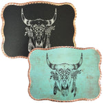 Cow Skull Feathers - Wallet Buckle-Rose Gold-Black
