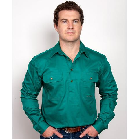 Just Country CAMERON 1/2 Button Work Shirts DARK GREEN