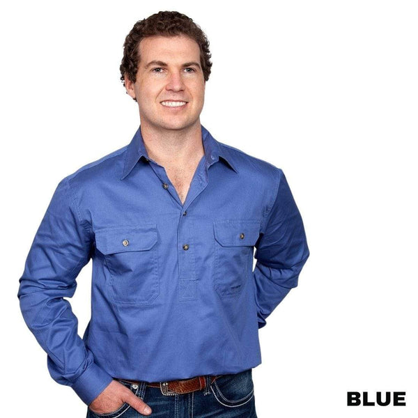 Just Country CAMERON 1/2 Button Work Shirts BLUE