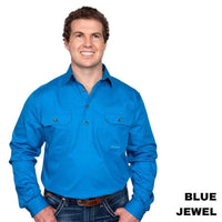 Just Country CAMERON 1/2 Button Work Shirts BLUE JEWEL