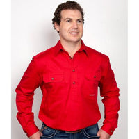 Just Country CAMERON 1/2 Button Work Shirts CHILLI