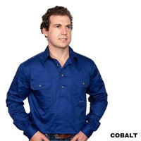 Just Country CAMERON 1/2 Button Work Shirts COBALT