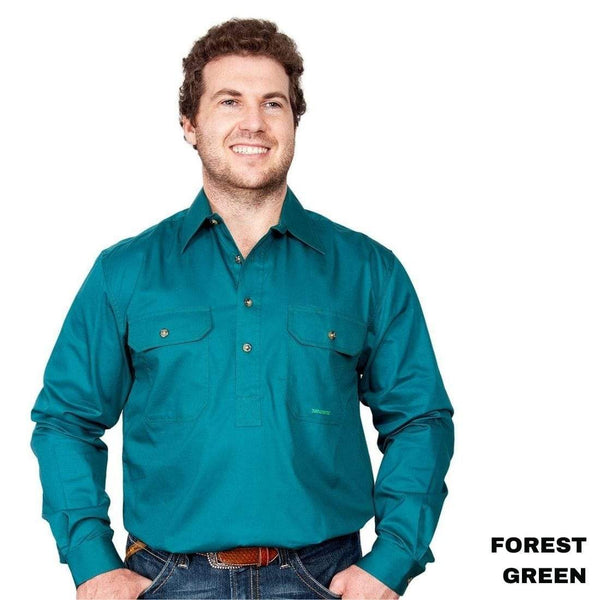 Just Country CAMERON 1/2 Button Work Shirts FOREST