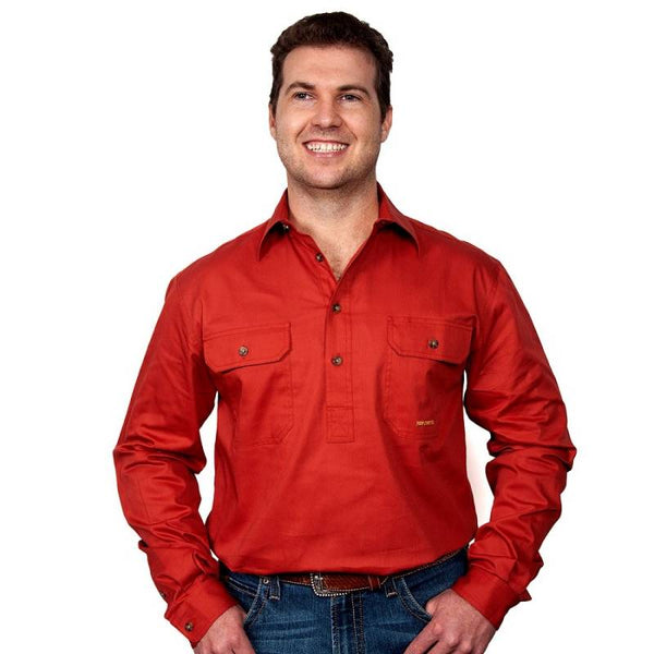 Just Country CAMERON 1/2 Button Work Shirts RUST