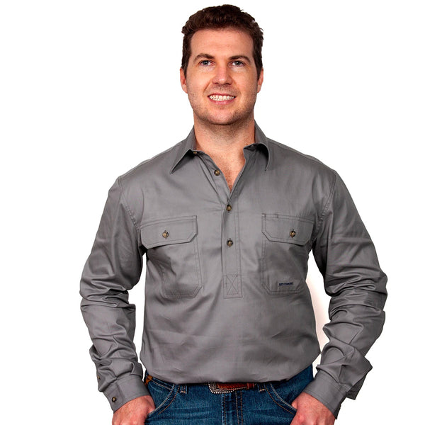 Just Country CAMERON 1/2 Button Work Shirts STEEL GREY