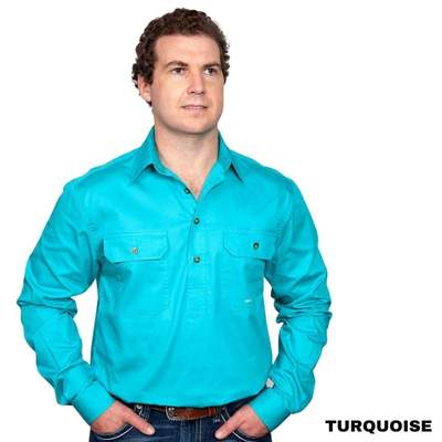 Just Country CAMERON 1/2 Button Work Shirts TURQUOISE