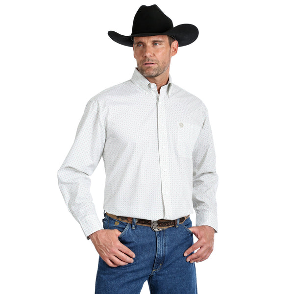 Wrangler Mens George Strait Relaxed Fit Shirt White 40%  OFF WHILE STOCK LASTS
