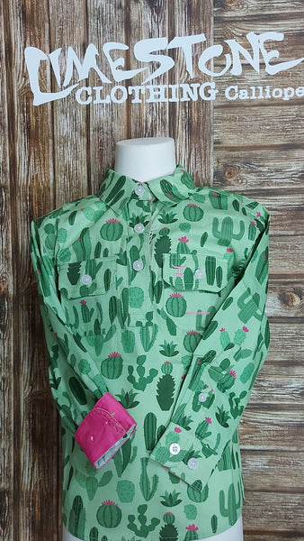 Just Country Girls Harper Work shirt Lime Rose Cactus