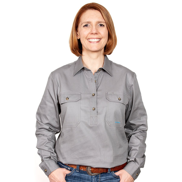 JUST COUNTRY Ladies Work Shirt Steel Grey