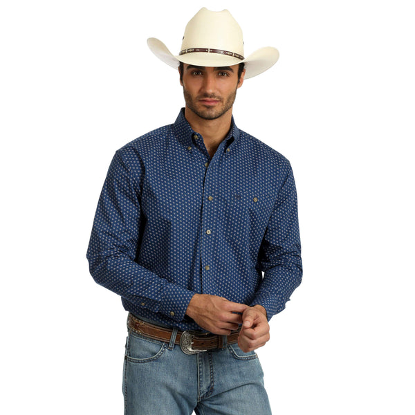 Wrangler Mens Authentic Western Shirt Navy 40%  OFF WHILE STOCK LASTS