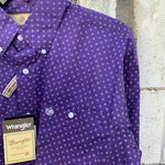 Wrangler Mens Authentic Western Shirt Purple 40%  OFF WHILE STOCK LASTS