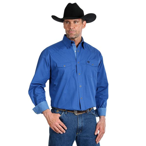 Wrangler Mens George Strait Troubadour Shirt Blue 40% OFF WHILE STOCKS LAST