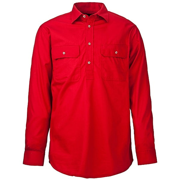 Kids Pilbara Closed Front L/S Shirt Red