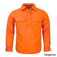 Kids Pilbara Closed Front L/S Shirt Tangerine