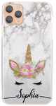 Personalised Grey Marble Unicorn Initial Hard Case