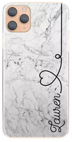 Personalised Grey Marble with Black Heart Side Name Hard Case