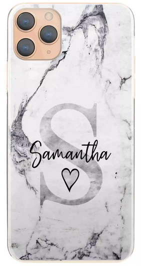 Personalised Grey Marble with Black Name & Grey Initial Hard Case