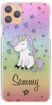 Personalised Hearts & Stars Unicorn Initial Hard Case