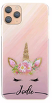 Personalised Pale Pink Unicorn Initial Hard Case