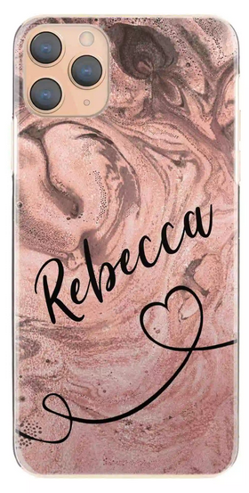 Personalised Peach Swirl with Black Name & Heart Hard Case