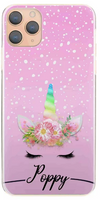 Personalised Pink & White Snow Unicorn Initial Hard Case