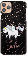 Personalised Rose Snow & Black Marble Unicorn Initial Hard Case