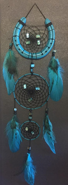 Triple Aqua Black Dreamcatcher