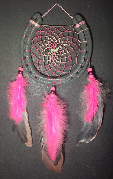 Grey with Pink Pony Dreamcatcher