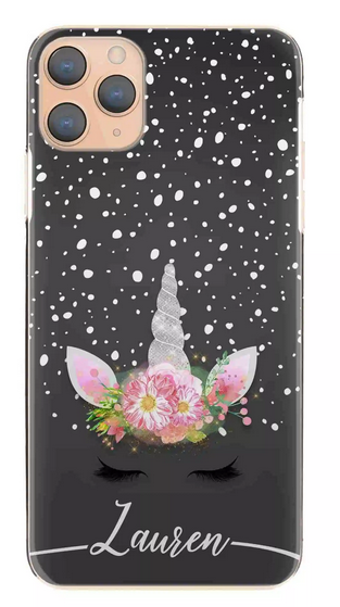 Personalised Black & White Snow Unicorn Initial Hard Case