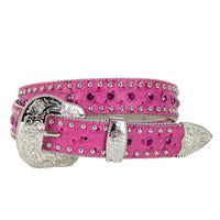 Pink Ostrich Pattern Leather with Large Pink Conchos