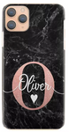 Personalised Black Marble & White Name/Rose Initial Hard Case