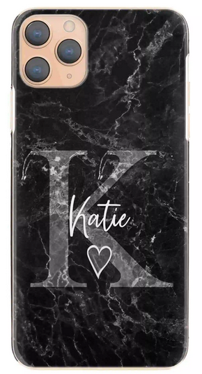 Personalised Black Marble with Grey Heart & Initial Hard Case