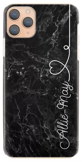 Personalised Black Marble with White Heart Side Name Hard Case