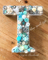 "MDF decorated wooden initial letter. Any colour any letter. 20cm ( 8"")"