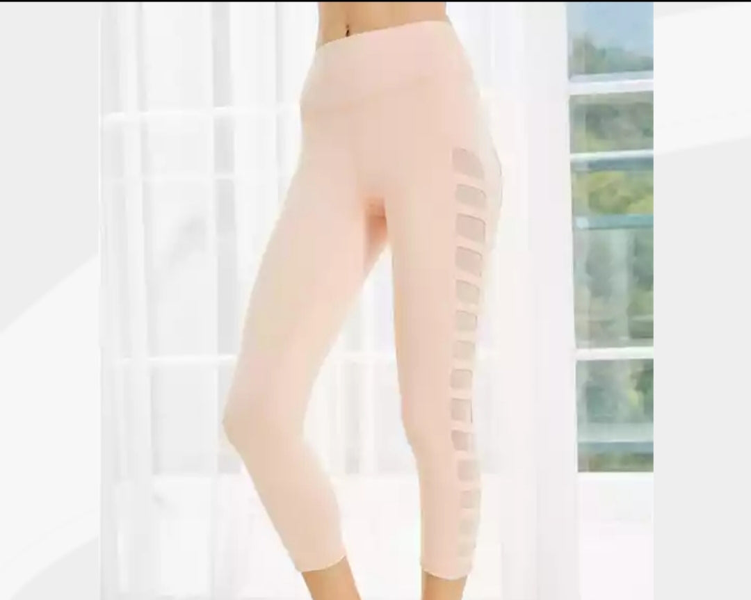 Side Mesh Pink High Waisted Yoga Pants